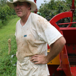 Coffee Farmer Gary, tired after a long day of working on the farm
